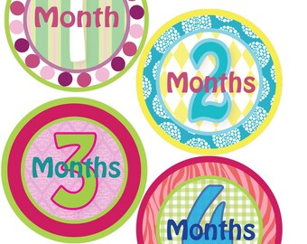 Monthly Bodysuit Stickers - Bold Girl - Baby Shower or New Mom gift - For a baby girl 1-12 months