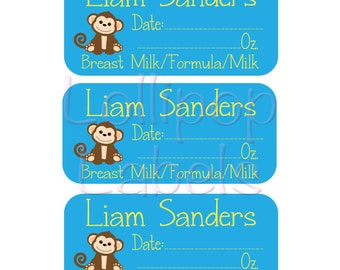 27 Personalized Removable (Single Use) Labels - Personalized Daily Bottle Labels - Breast Milk Labels