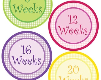 Pregnancy Bump Stickers - Weekly Milestones - Gingham Theme - Perfect Gift For Expectant Moms Tracking Their Baby Bump