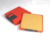 Red Floppy Disk Coaster