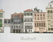 Print Houses in Venice from my original drawing