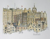Print of Edinburgh Scotland From Original Watercolour