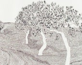 Trees Print Black and White Drawing From My  Golden Age Series