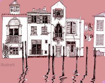 Print Sunset Houses in Venice a giclee from an original drawing