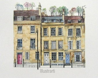Print of Houses Bath UK From an Original Drawing and Painting