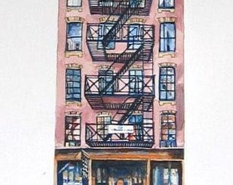 New York Print of Tenement Building From Original Watercolour.