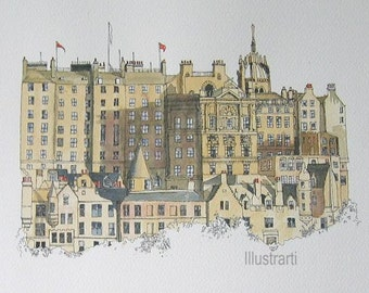 Print of Edinburgh Scotland From Original Watercolour