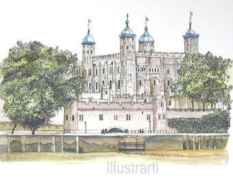Print Tower of London From Original Drawing and Painting