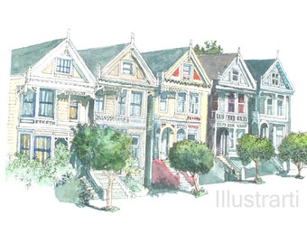 Print San Fransisco Houses From Original Watercolour Drawing