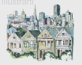 Print Houses in San Fransisco from  Original Drawing and Painting