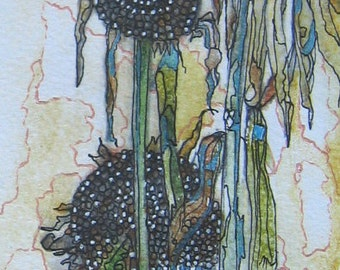 Print From Original Mixed Media Painting of Flowers