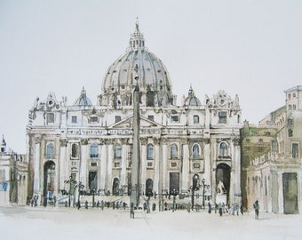 St Peter's Vatican Print From Original Watercolour