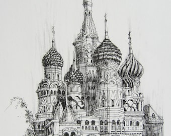 Kremlin Russia Print Giclee From My Original Drawing