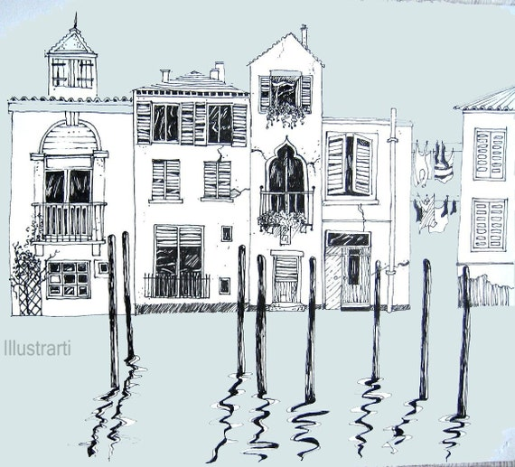 Print Houses Venice in Blue From an Original Drawing