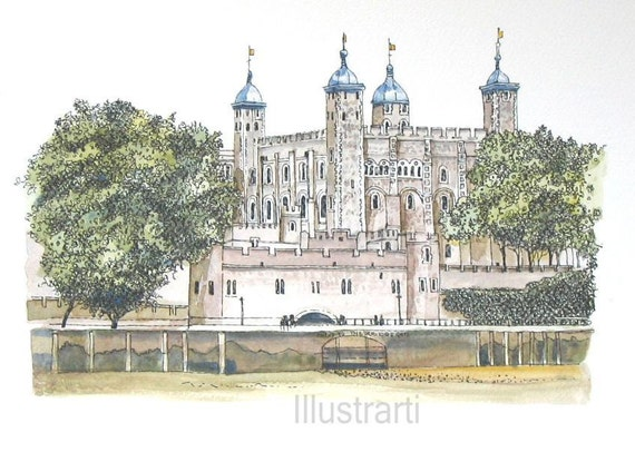 Aceo Tower of London From an Original Watercolour