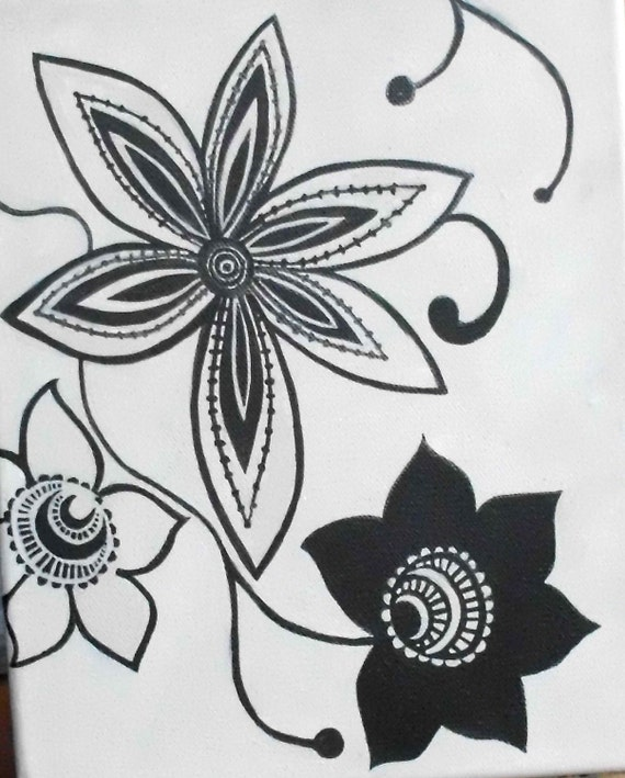 Painting on canvas of Fantasy Flowers in Black and Mushroom
