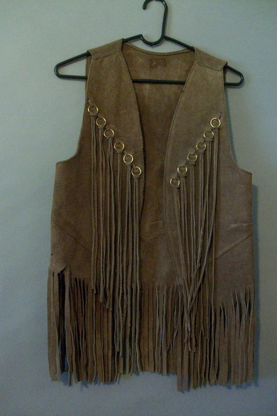 60s 70s Hippie Rawhide Fringed Leather Vest By Lindaowen