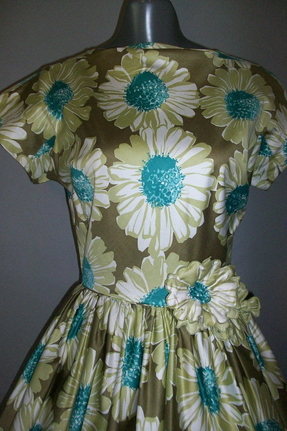 1950's MARION MCCOY Originals // Polished Cotton // Floral Design // Party Dress...sm/med