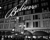 Christmas in NYC  8x10 print 34th street Fine Art photography Black and White