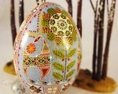 Deer with Flower, Turkey Egg Pysanky with Ice Blue background, olive and orange flower