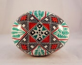 Turkey Egg Pysanka, Pysanky, Turquoise Pussy Willow with Star, Red, White, Teal, Aquamarine