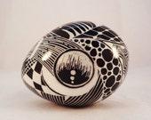 Turkey Egg Pysanka, Pysanky, Zentangle, Black and White, Tangled Art Batik Egg