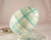 Easter Egg Plaid , Aqua, Turquoise Colors, Ukrainian Batik Eggs, Easter Bunny Eggs, Pysanky