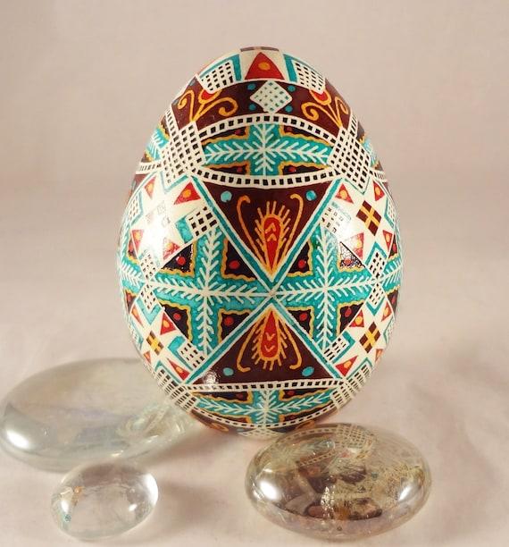 Turkey Pysanky Egg, Pysanka, Diamonds and Stars in Teal and Mahogeny
