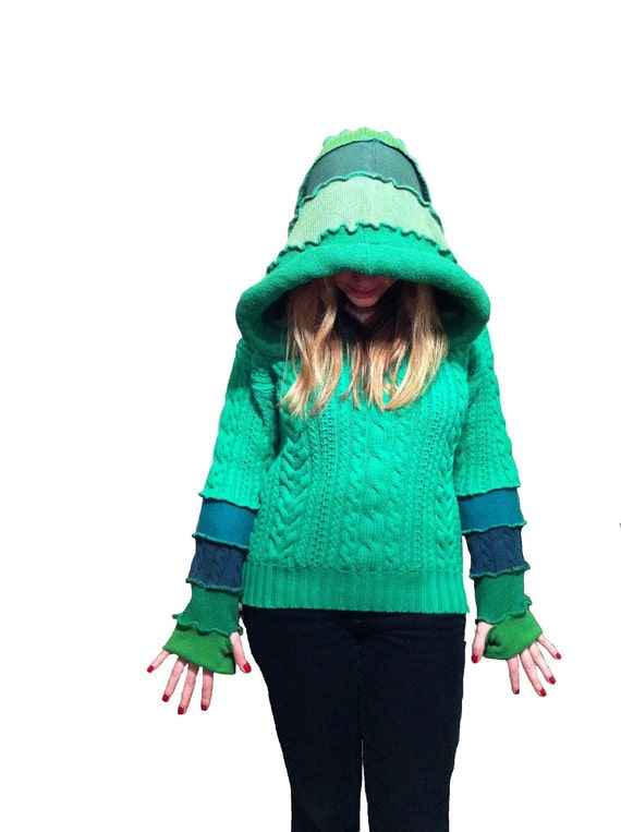 SALE The Green Meany elf hoodie upcycled sweater  by Hope Floats Upcycled