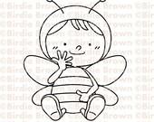 Digital Stamp -- Happy Bee01