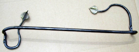 Organic leaf wrought iron towel bar hand made in the USA by a blacksmith