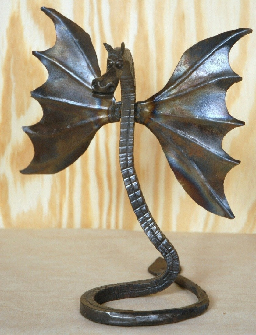 Winged Dragon Sculpture Hand Forged Art Mythical Beast Hand