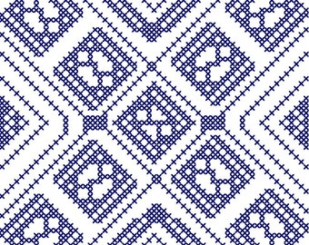 "Quilt Cross Stitch Pattern 4.5"" x 4.5""  to fit 5"" x 5"" Frame Blue & White"