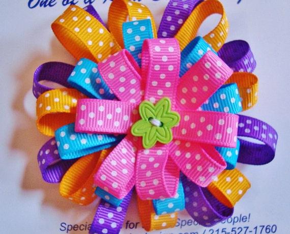 BEST SELLER Bright Bold Fun Pink, Purple, Blue, Orange Polka Dot stacked flower hair clip hair bow