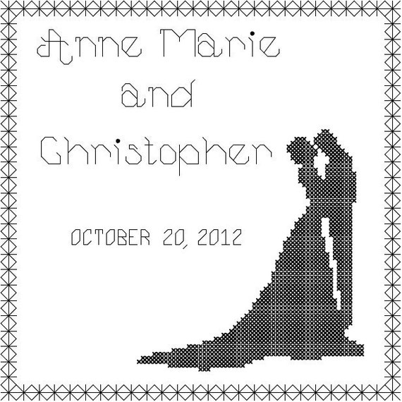 Bride and Groom Cross Stitch  Pattern/Couple Silhouette Cross Stitch Pattern/Wedding Cross Stitch/Modern Wedding Cross Stitch Pattern/PDF