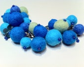 Felted Bead Bracelet In Shades of Turquoise
