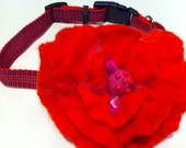 Whimsical Red Poppy Flower Pet Collar, Felted Wool, For Your Pampered Pet