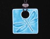Ceramic Dragonfly Necklace - Blue