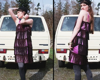 vintage FLAPPER FRINGE Handmade party dress in Lilac and Brown, Small Medium