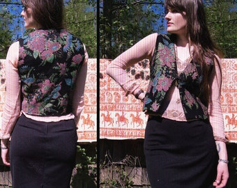 vtg PAINTED FLOWERS Boho Jewel Tone Vest with Knot detail, xs - small
