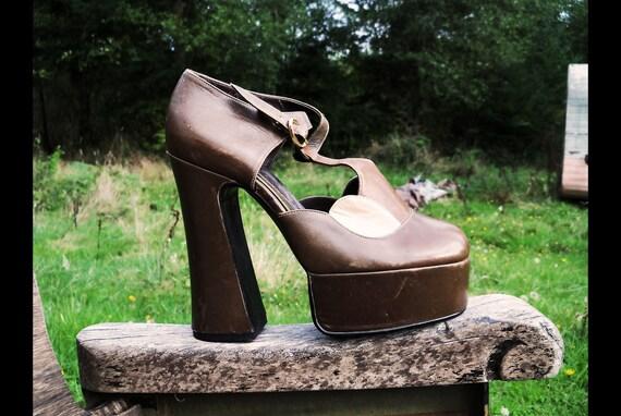 40s KILLER QUEEN Insane Platform Wedge Heels, Tiny fit size 5.5
