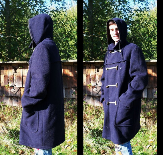 60s DUFFLE COAT Navy Blue Wool by Loden West Germany, Men's large or xl