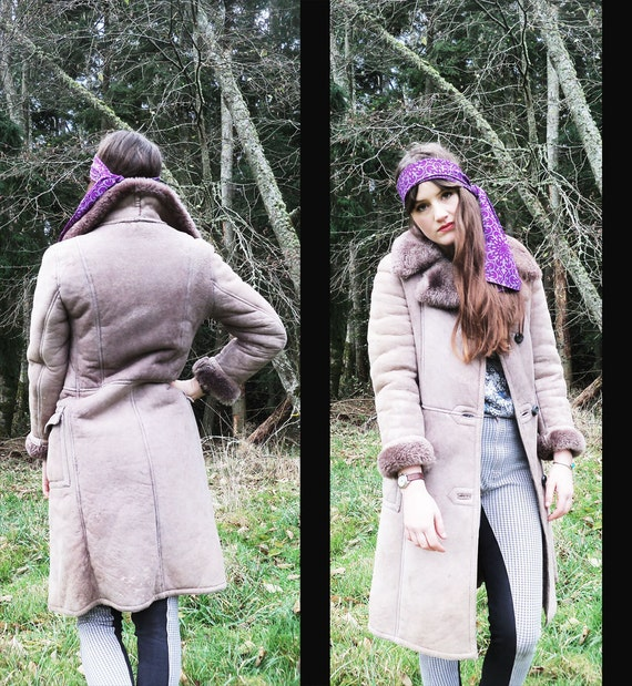 70s vtg FIERCE BOHEMIAN Warm Sheepskin Shearling Princess Coat, xs extra small