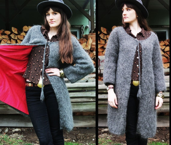 60s vtg SHAGGY Rabbit Grey Sweater Swing Jacket Cloak Coat, HANDKNIT, Small