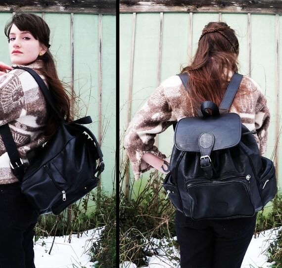 90s vtg LEATHER BACKPACK Distressed Large Rucksack Bucket Bag Bookbag