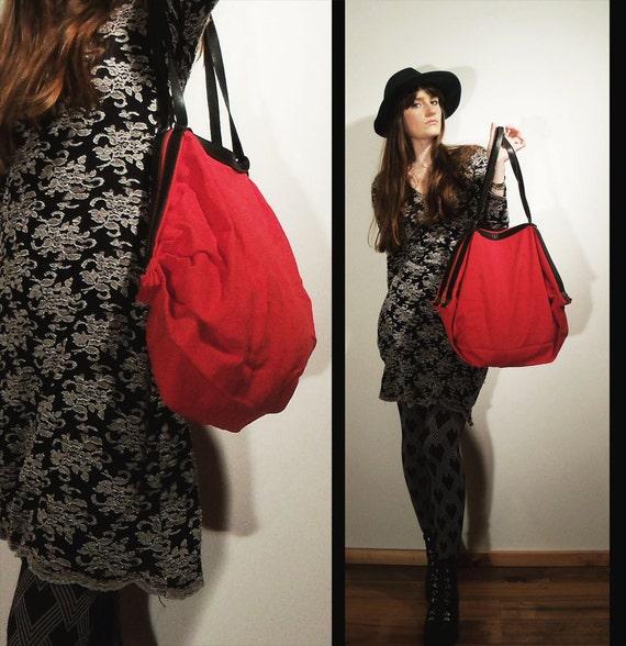 vtg CHERRY RED and Black Leather ACCORDION Handbag Weekender Tote