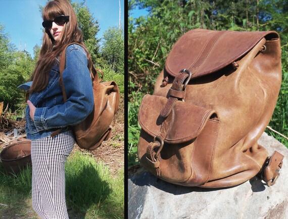 vtg BUTTERSCOTCH Distressed Drawstring Leather Backpack Rucksack, Large
