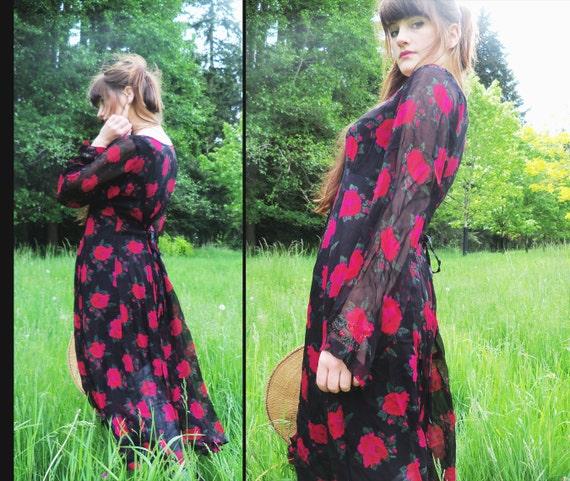 vtg PAPILLON Sheer Floral TRAPEZE Maxi Dress, Medium BOHEMIAN