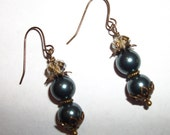 Gorgeous blue pearl and bead earrings Reserved