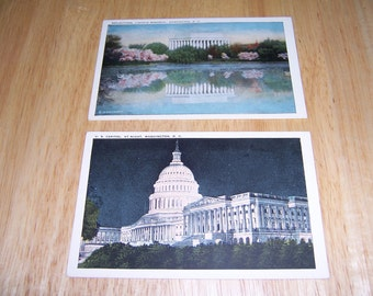 2 Vintage Postcards-U S Capitol and Lincoln Memorial